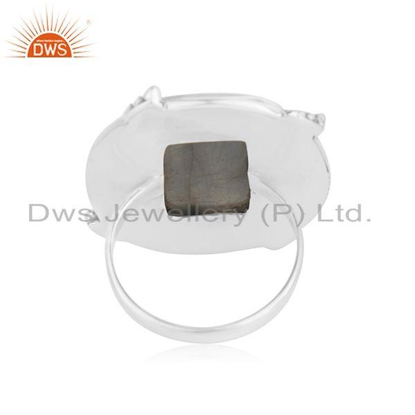 Suppliers Natural Labradorite Gemstone Oxidized Sterling Silver Ring Manufacturer