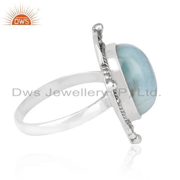 Suppliers Designer Sterling Silver Oxidized Larimar Gemstone Statement Ring Supplier INDIA