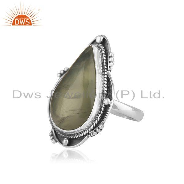 Suppliers Prehnite Gemstone Designer Oxidized Sterling Silver Ring Jewelry