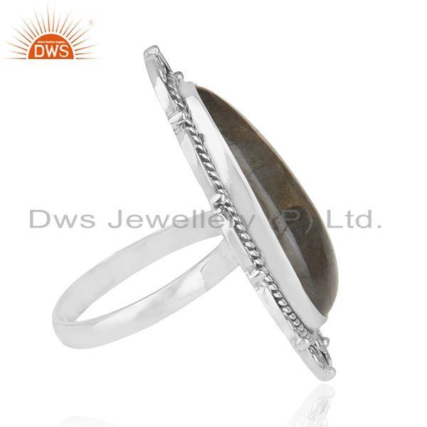 Suppliers Designer Oxidized 92.5 Sterling Silver Labradorite Ring Wholesaler of jewelry