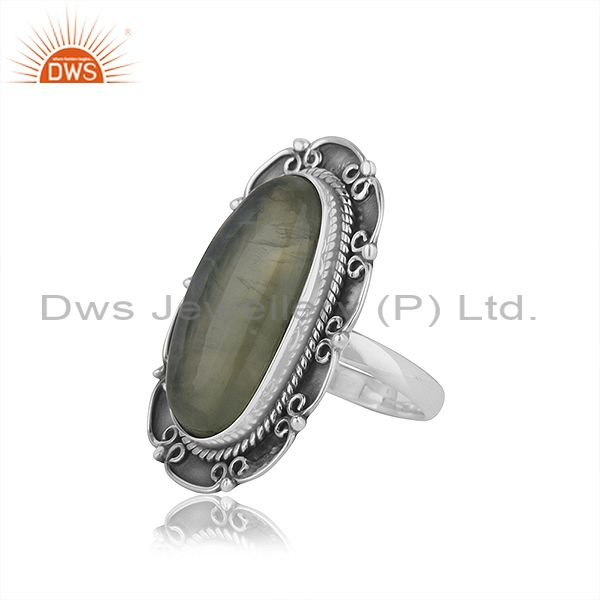 Suppliers New Oxidized Sterling Silver Prehnite Ring Jewelry