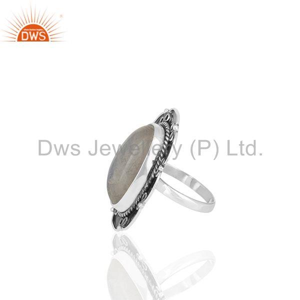 Suppliers Solid 925 Silver Oxidized Rainbow Moonstone Cocktail Rings Manufacturers