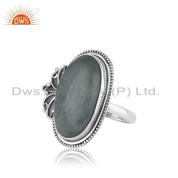 Suppliers Oxidized Designer Silver Aquamarine Stone Ring Jewelry Supplier