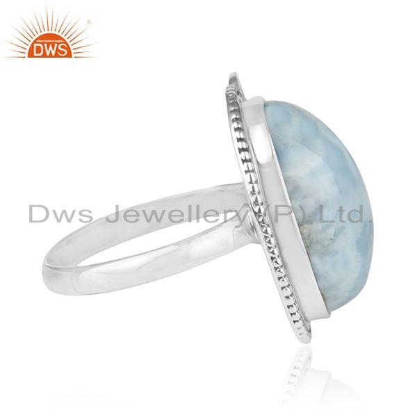 Suppliers Natural Larimar Gemstone Oxidized 925 Silver Cocktail Ring Manufacturer India
