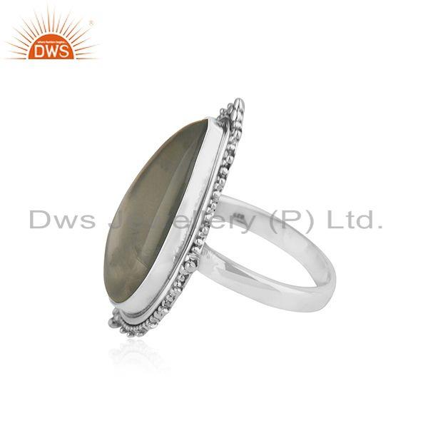 Suppliers Oxidized Sterling Silver Prehnite Gemstone Ring Jewelry