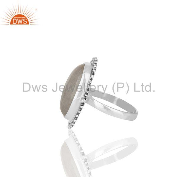 Suppliers Bezel Set Rainbow Moonstone Oxidized Solid 925 Silver Cocktail Rings Supplier