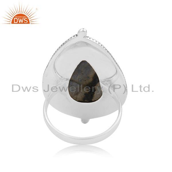 Suppliers Labradorite Gemstone 92.5 Sterling Silver Handcrafted Ring Manufacturer India