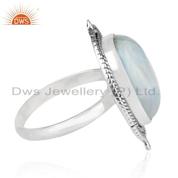 Suppliers Larimar Gemstone Oxidized 925 Sterling Silver Cocktail Ring Manufacturer India