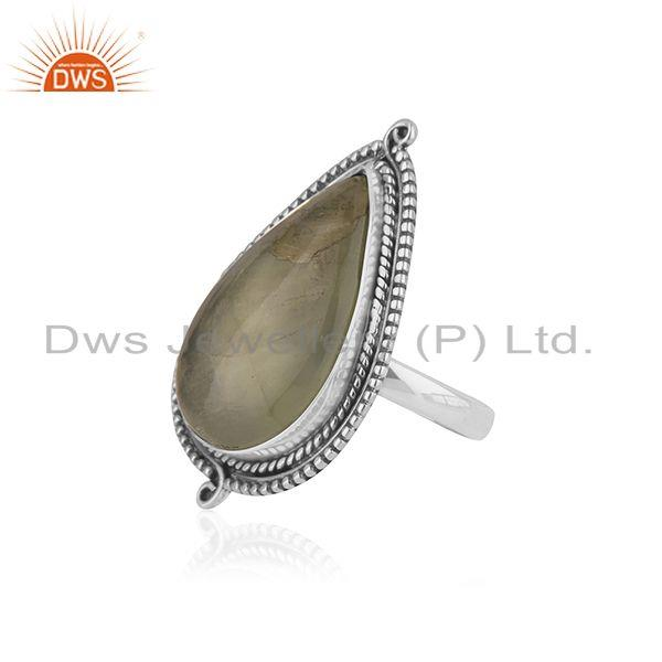 Suppliers Prehnite Stone Sterling Silver Oxidized Ring Jewelry