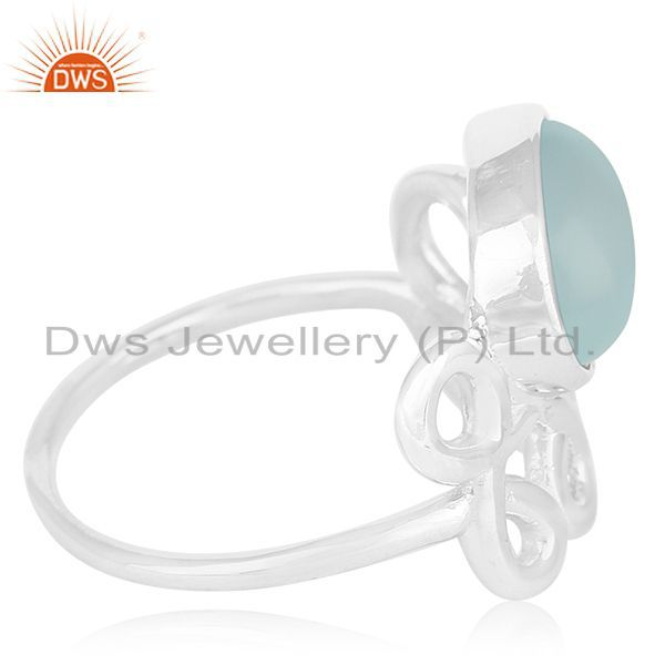 Suppliers New Arrival Aqua Chalcedony Gemstone 925 Silver Ring Manufacturers