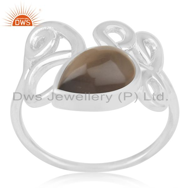 Suppliers Smoky Quartz 925 Sterling Silver Designer Girls Ring Suppliers India