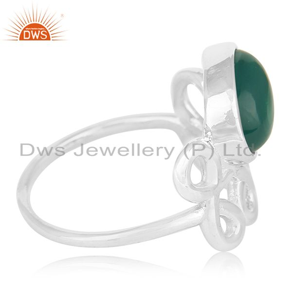 Suppliers White Rhodium Plated 925 Silver Onyx Gemstone Ring Manufacturer