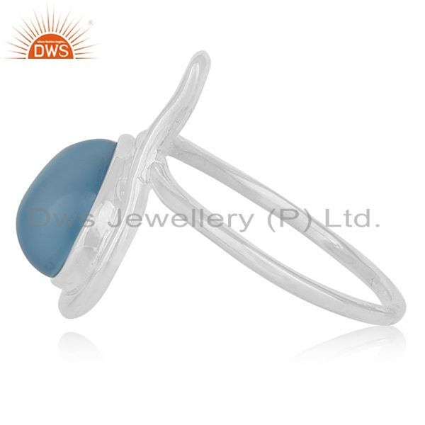 Suppliers Blue Chalcedony Gemstone 925 Silver Ring Jewelry Manufacturer Jaipur