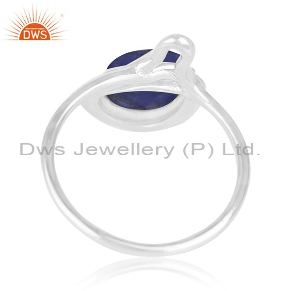 Suppliers Lapis Lazuli Gemstone White Rhodium Plated 925 Silver Ring Jewelry