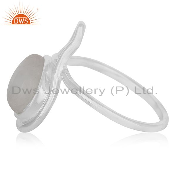 Suppliers White Rhodium Plated Silver Rainbow Moonstone Ring Jewelry Supplier