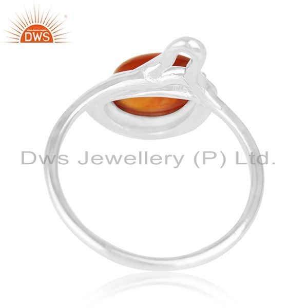 Suppliers 925 Silver White Rhodium Plated Chalcedony Gemstone Ring Wholesale