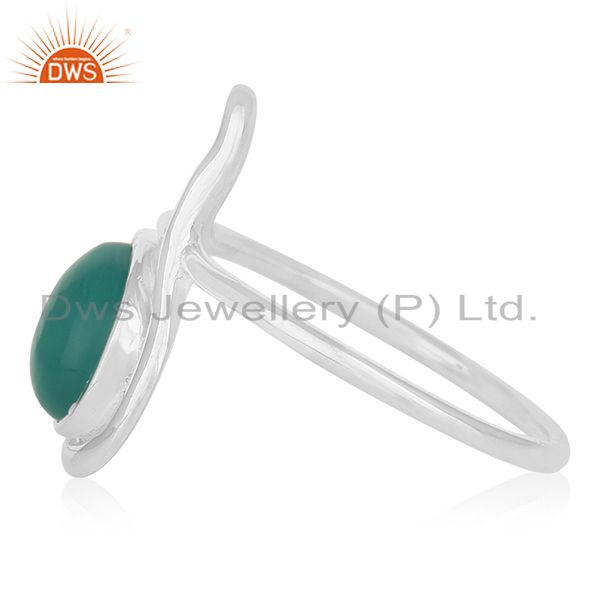 Suppliers Handmade 925 Silver White Rhodium Plated Green Gemstone Ring Jewelry