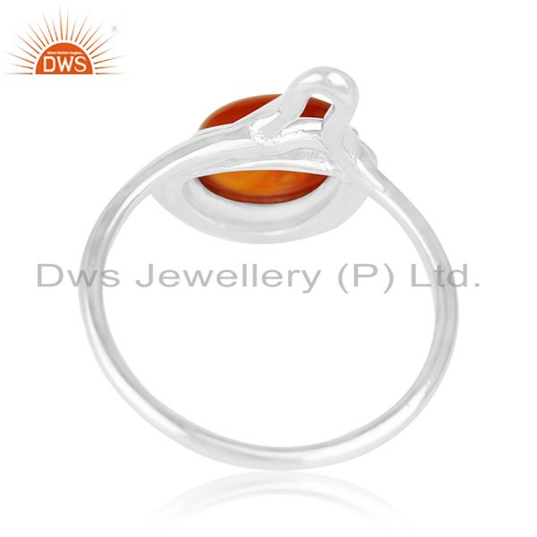 Suppliers Red Onyx Gemstone White Rhodium Plated 925 Silver Ring Suppliers