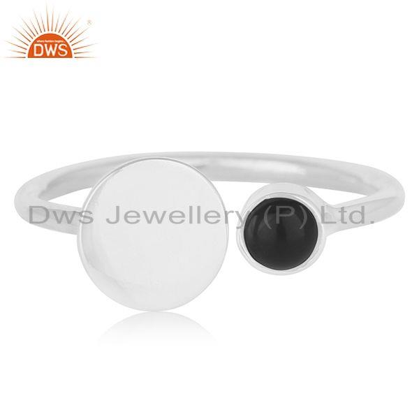 Suppliers Black Onyx Gemstone Fine Sterling Silver Adjustable Ring Wholesale