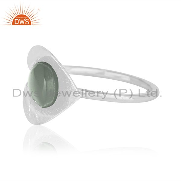 Suppliers Floral Design Sterling Silver Chalcedony Aqua Gemstone Custom Ring Manufacturer