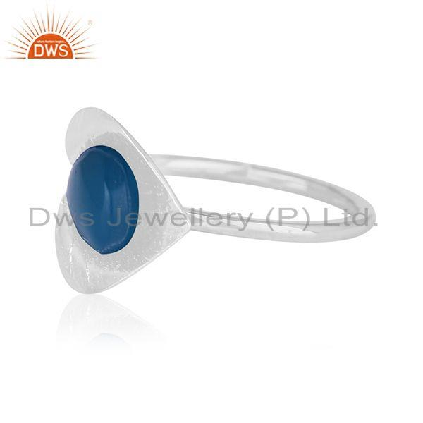 Suppliers Blue Chalcedony Gemstone Floral Design Sterling Silver Custom Ring Wholesale