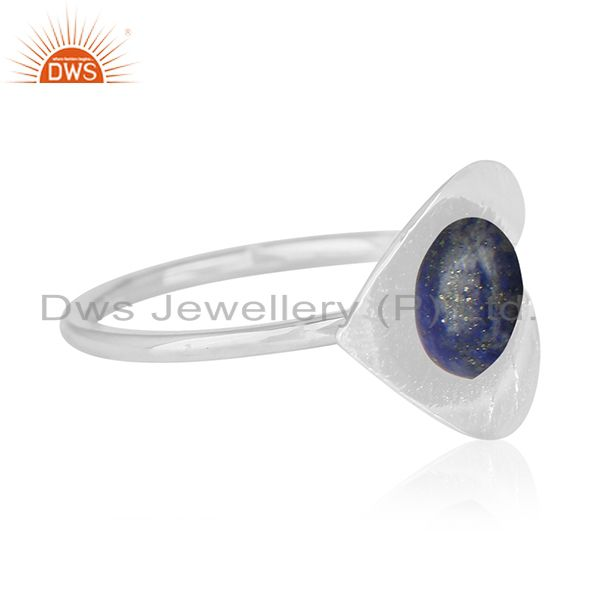 Suppliers Floral Design 925 Silver Lapis Lazuli Gemstone Custom Ring Manufacturer
