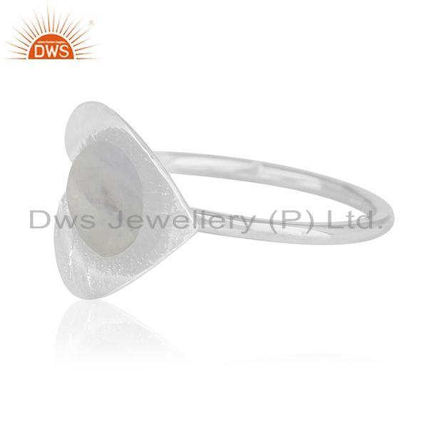 Suppliers Raibow Moonstone Sterling Silver Floral Design Custom Ring Manufacturer
