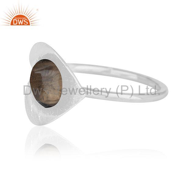 Suppliers Smoky Quartz Floral Design 925 Silver Private Label Ring Jewelry Manufacturer