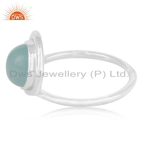 Suppliers Designer Sterling Silver Blue Chalcedony Gemstone Girls Ring Manufacturer India