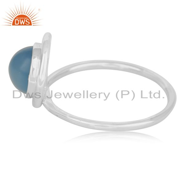 Suppliers Blue Chalcedony Gemstone Sterling Silver Designer Ring Jewerly Wholesale