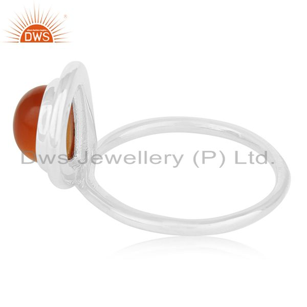 Suppliers Carnelian Chalcedony Gemstone Sterling Silver Custom Ring Manufacturer for Brand