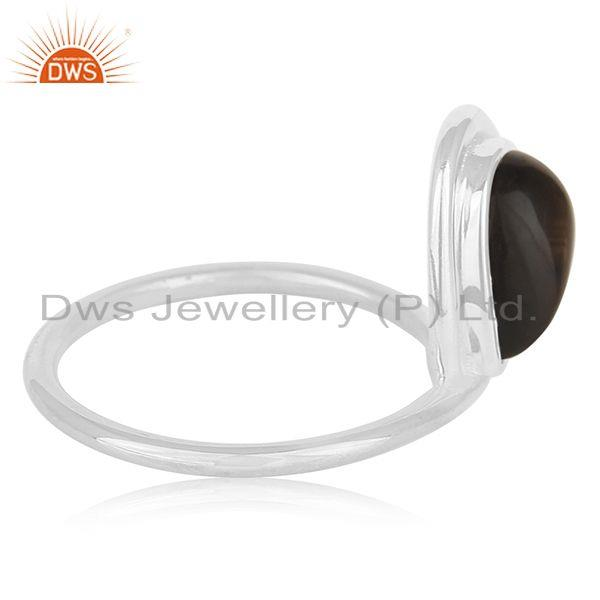 Suppliers Smoky Quartz Gemstone Sterling Silver Designer Ring Private Label Jewelry