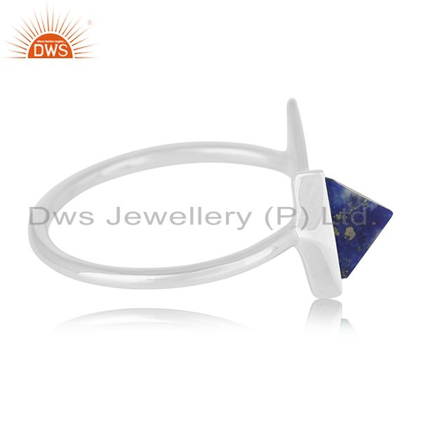 Suppliers Lapis Lazuli Gemstone 925 Silver Adjustable Ring Jewelry Supplier