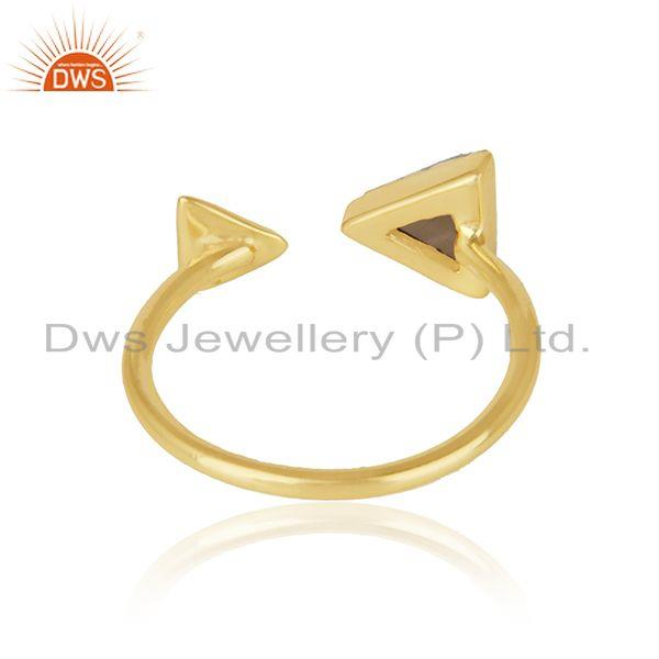 Designer of Pyramid adjustable ring in yellow gold on silver 925 and smoky