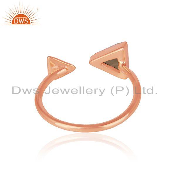 Designer of Pyramid adjustable ring in rose gold on silver 925 and smoky