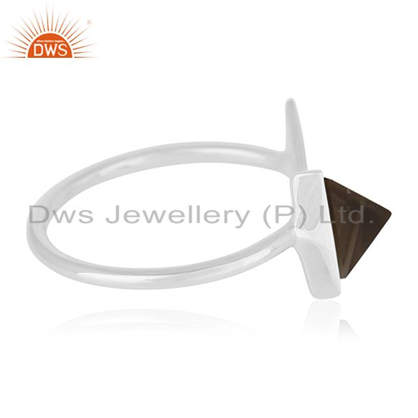 Suppliers Triangle Shape Smoky Quartz 925 Sterling Silver Gemstone Adjustable Ring Jewelry