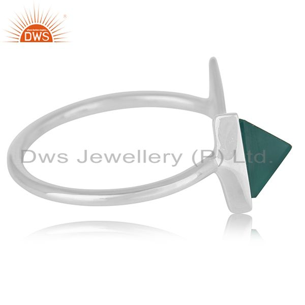 Suppliers Adjustable 925 Silver Green Onyx Gemstone Ring Jewelry Manufacturer