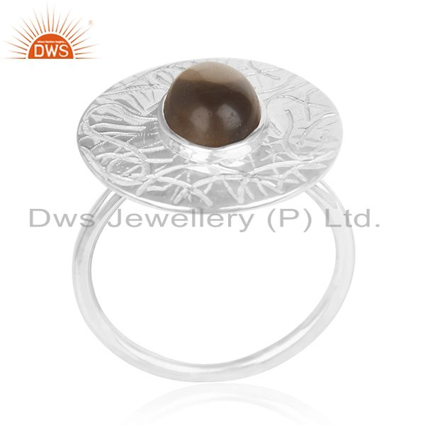 Suppliers Designer 925 Sterling Silver Smoky Quartz Cocktail Ring For Womens