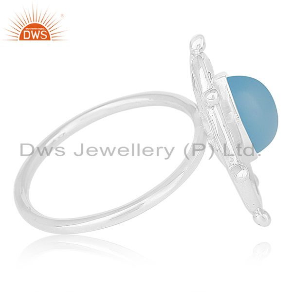Suppliers New Arrival 925 Silver Blue Chalcedony Gemtone Cocktail Ring Wholesale