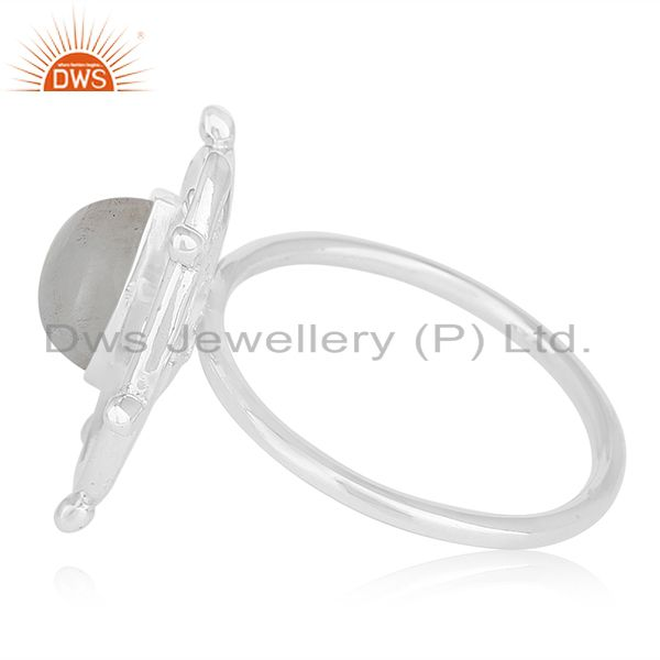 Suppliers Rainbow Moonstone Sterling Silver Designer Cocktail Ring Wholesale Suppliers