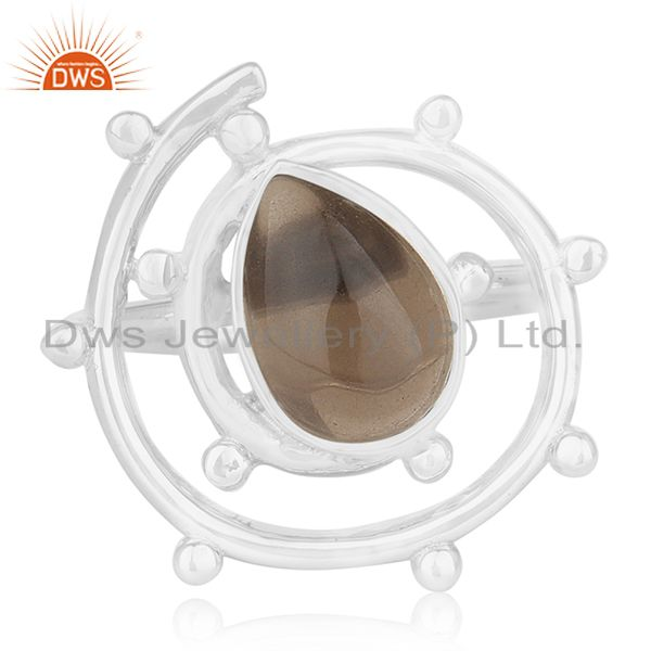 Suppliers Smoky Quartz Gemstone 925 Sterling Silver Cocktail Ring Manufacturer from Jaipur