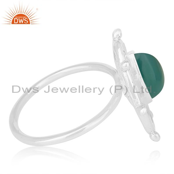 Suppliers Green Onyx Gemstone 925 Sterling Silver Indian Handmade Ring Manufacturer