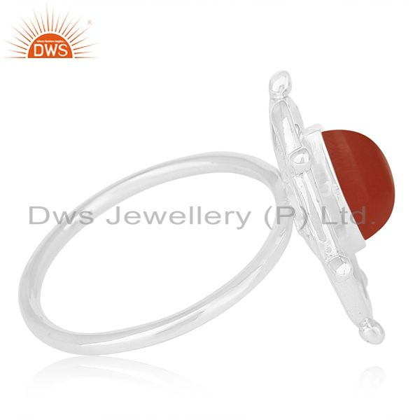 Suppliers Red Onyx Gemstone 925 Sterling Silver Indian Designer Cocktail Ring Manufacturer