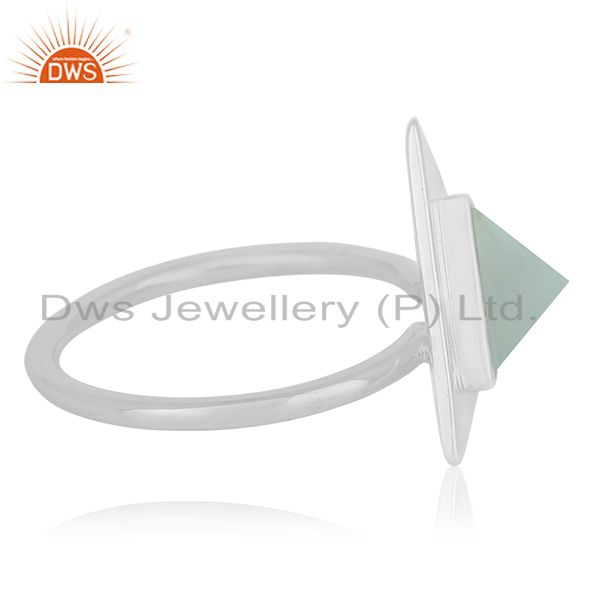 Suppliers Customized Triangle Shape Sterling Silver Gemstone Ring Manufacturer from India