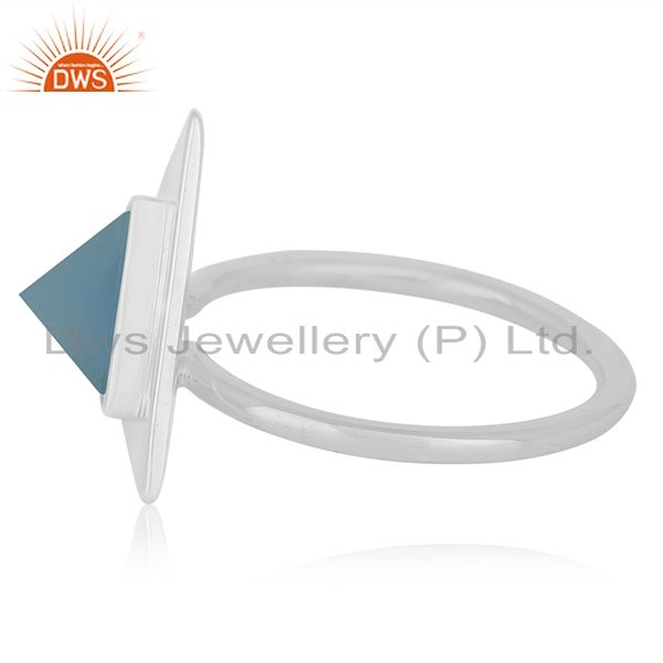 Suppliers Blue Chalcedony Gemstone Triangle Shape Sterling Silver Custom Ring Manufacturer