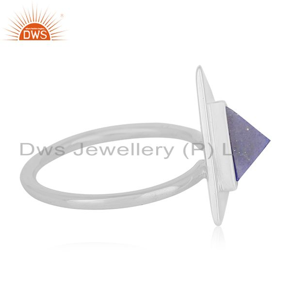 Suppliers Lapis Lazuli Gemstone Triangle 925 Silver Ring Manufacturer for Brands