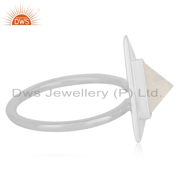 Suppliers Rainbow Moonstone Sterling Silver Triangle Custom Ring Manufacturer