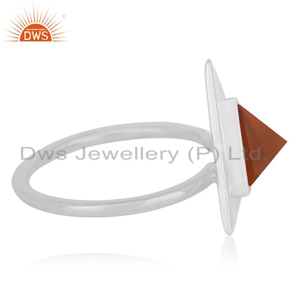 Suppliers Carnilian Chalcedony Gemstone 925 Silver Triangle Ring Wholesale