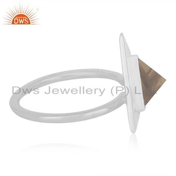 Suppliers Triangle Shape 925 Silver Smoky Quartz Ring Custom Ring Suppliers