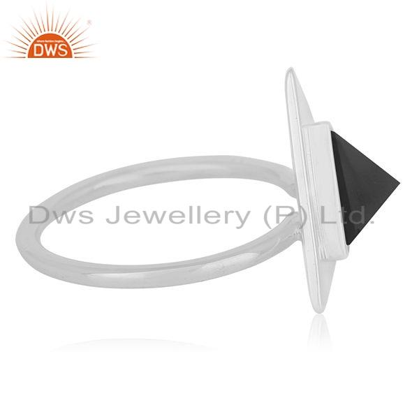 Suppliers Natural Black Onyx Gemstone Triangle Design 925 Silver Ring Jewelry